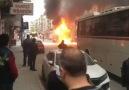 Belediye otobüsü yandı