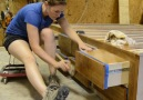 DIY queen sized bed frame with built-in storage via