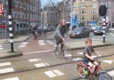 Dutch cycle lanes around a round-a-bout