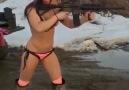 Girl shooting assault rifle