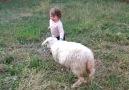 Kuzu ile çocuğun neşesine diyecek yok :)