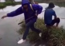 Lad Gets Mate's Head Caught In Fishing Net