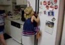 Little Girl Easily Climbs Fridge