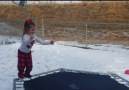 Little girl's trampoline fail