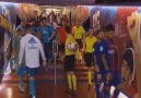 Ronaldo saying hello to Messi and Suarez in tunnel during halftime!! -Cr7Amol