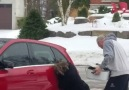 Woman Can't Get In Her Car On Ice